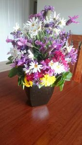 Flowers gathered from the Community Garden for Viv's memorial service